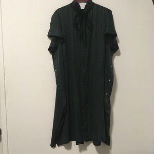 Louis Vuitton Green Black Victorian Silk Dress 40